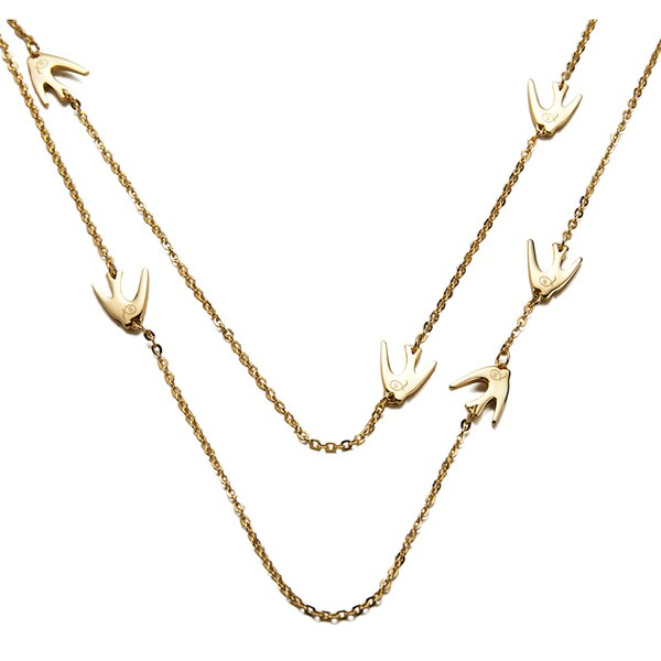 McQ Alexander McQueen Women's Fine Chain Swallow Necklace - Shiny Gold