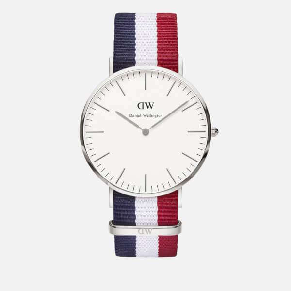 Daniel Wellington Classic Nato Cambridge Silver Watch - Red/White/Blue
