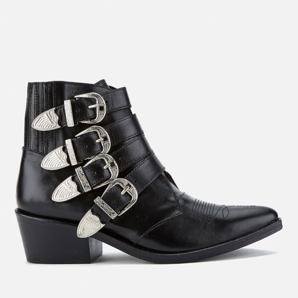 TOGA PULLA Women's Buckle Side Leather Heeled Ankle Boots - Leather - UK 3/EU 36 SDKfm4yzc