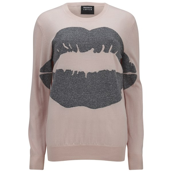 Markus Lupfer Women's Lurex Big Smacker Lip Intarsia Jumper - Cloud Pink/Grey Silver