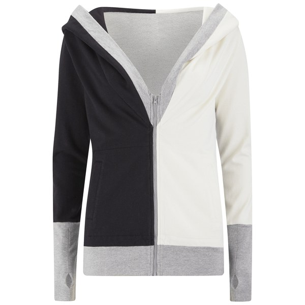 Norma Kamali Women's Zip Combo Hoody - Black/Heather Grey/Owl