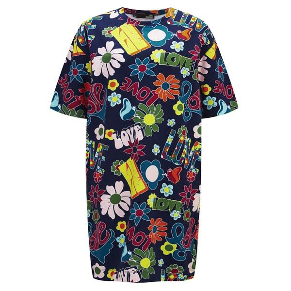 Love Moschino Women's Oversized T-Shirt Dress - Flower Print - Blue Print