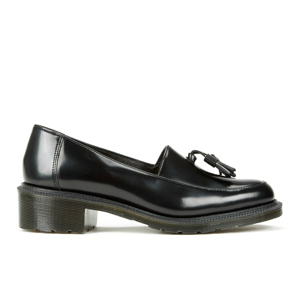Dr. Martens Women's Adelaide Favilla Polished Smooth Leather Tassel Slip On Shoes - Black