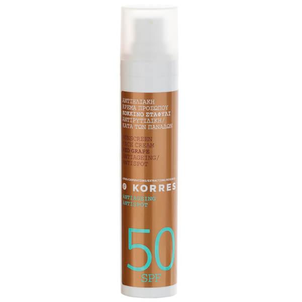 Crème visage anti-tâches au raisin rouge SPF50 de KORRES(50ml)