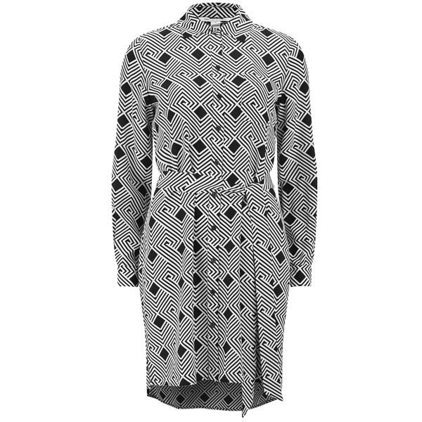 Diane von Furstenberg Women's Prita Shirt Dress - Geo Stripes Black