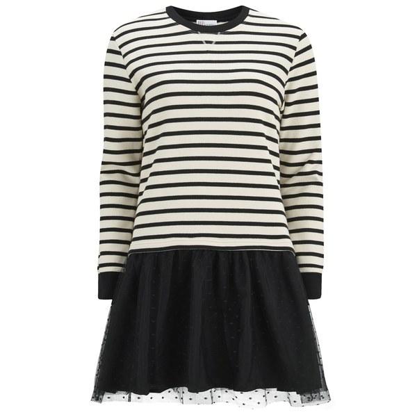 REDValentino Women's Striped Long Sleeve Dress - Black/White