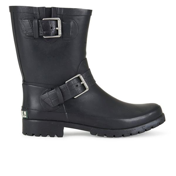 Lauren Ralph Lauren Women's Mora Matt Buckle Rubber Boots - Black