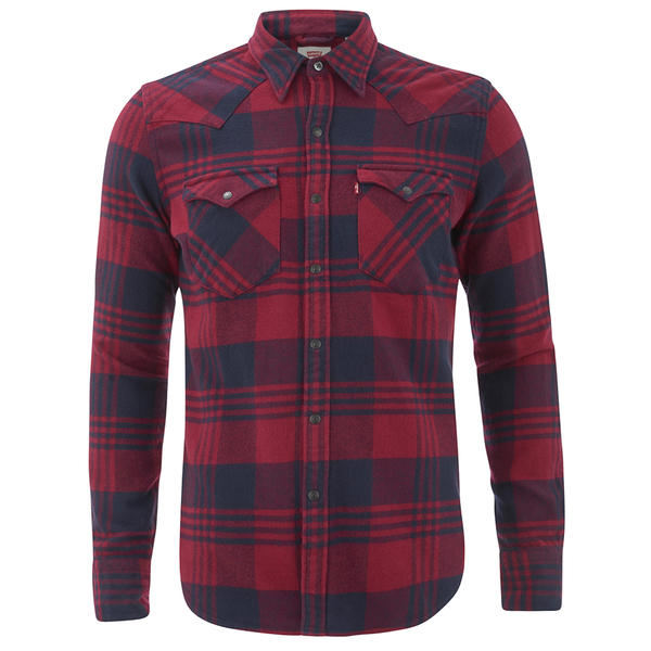 Levi 39 S Men 39 S Barstow Western Checked Shirt Tibetan Red