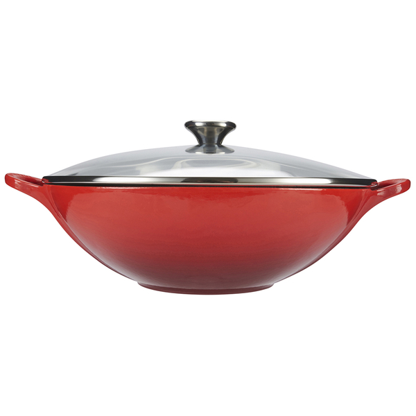 le creuset cast iron wok with glass lid 32cm cerise homeware. Black Bedroom Furniture Sets. Home Design Ideas