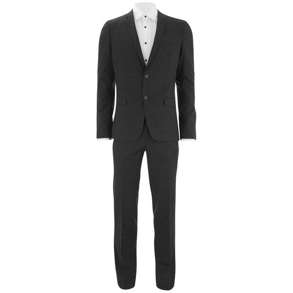 HUGO Men's Extra-Slim Fit White-Fleck 2-Piece Suit - Black/White Fleck