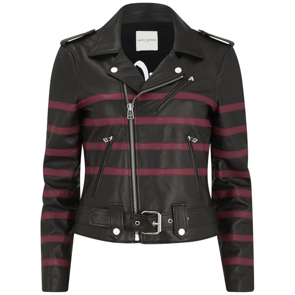 Each X Other Women's Striped Leather Bands Biker Leather Jacket - Black/Red