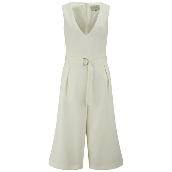 Lavish Alice Women s Deep Plunge D-Ring Culotte Jumpsuit - White  Image 1 8e14347d36
