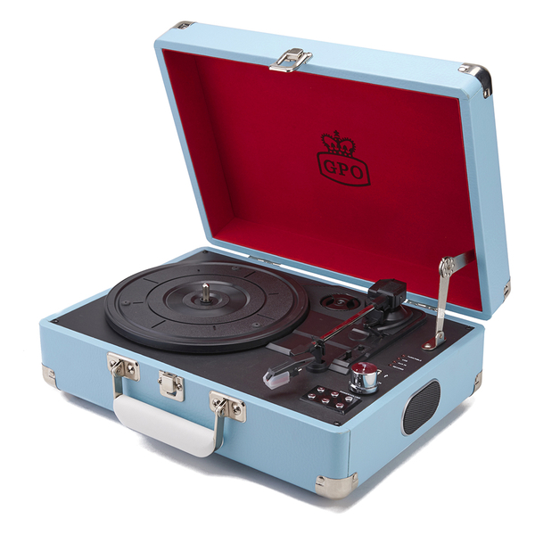 GPO Retro Attache Briefcase Style Three-Speed Portable Vinyl Turntable with Free USB Stick and Built-In Speakers - Sky Blue