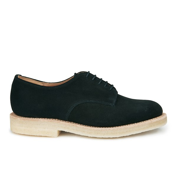 YMC Women's Solovair Suede Crepe Sole Lace Up Derby Shoes - Black Suede
