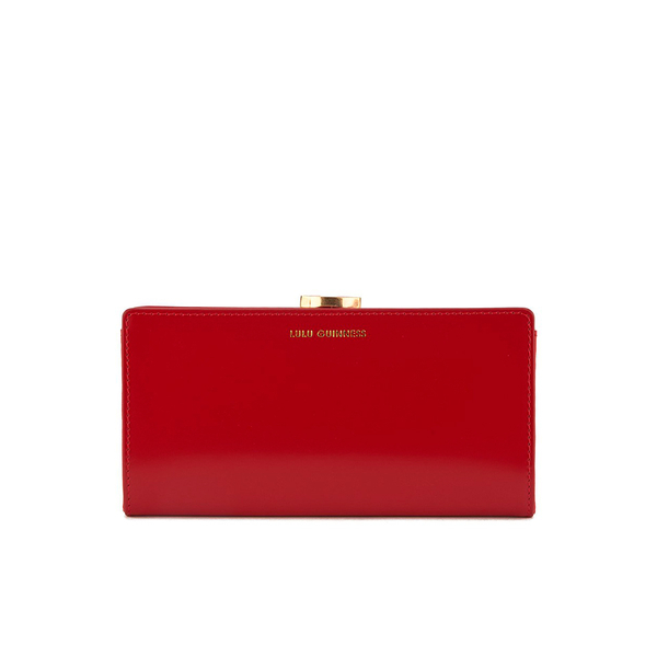 Lulu Guinness Women's Flat Frame Large Polished Calf Leather Purse - Red