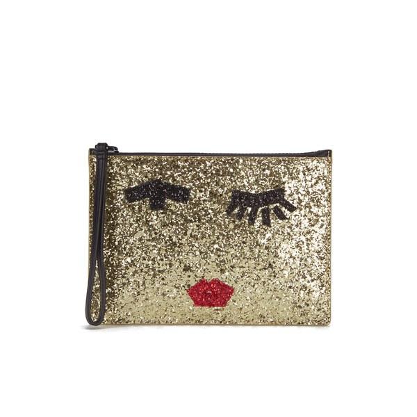 Lulu Guinness Women's Grace Medium Taped Face Glitter Clutch Bag - Gold
