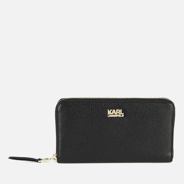 Karl Lagerfeld Women's K/Grainy Zip Around Wallet - Black