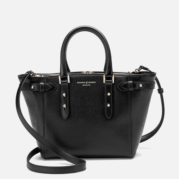 Aspinal of London Women's Marylebone Mini Tote Bag - Black Pebble