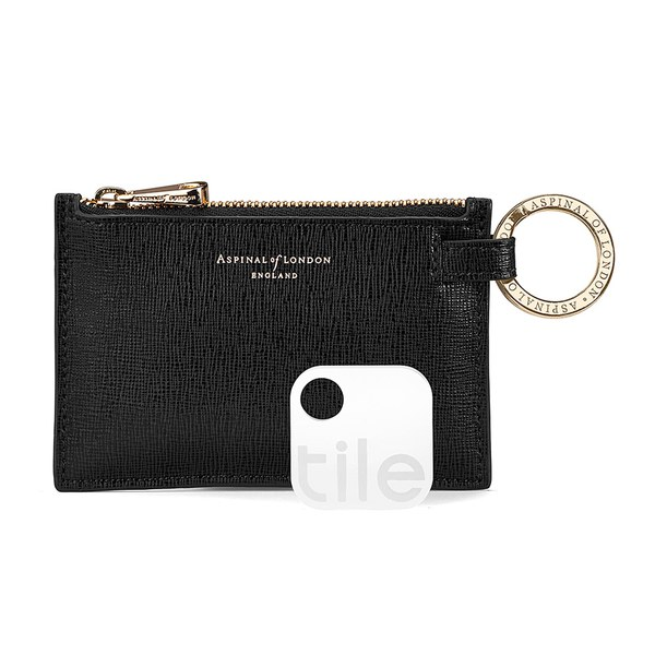 Aspinal of London Tracking Keyring in Zip Pouch - Black