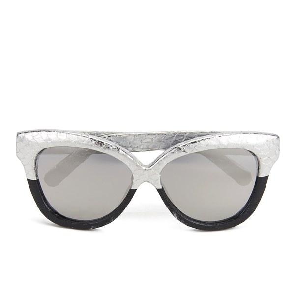 Linda Farrow Women's Platinum Lens Sunglasses - Silver to Black Snake