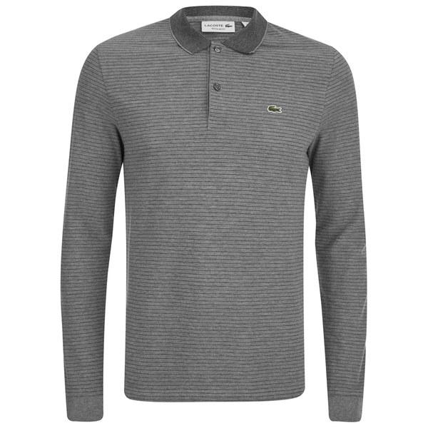 Lacoste men 39 s long sleeve ribbed collar polo shirt grey for Ribbed long sleeve shirt
