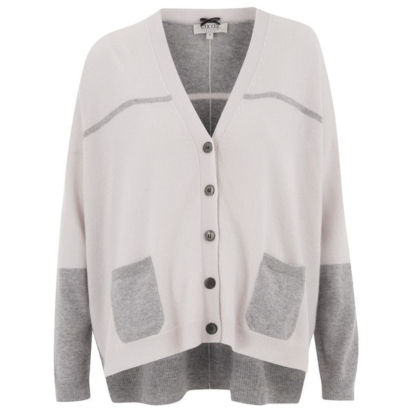 Cocoa Cashmere Women s Cashmere Contrast Cardigan - Grey Alabaster  Image 1 c8f496dc3a