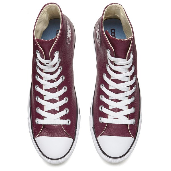 216174cf2231 Converse Men s Chuck Taylor All Star Seasonal Leather Hi-Top Trainers - Deep  Bordeaux