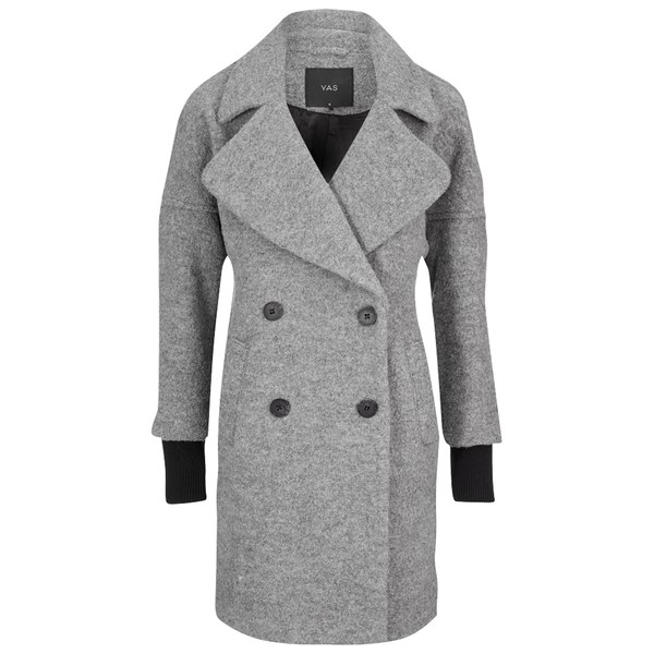 Y.A.S Women's Olivia Double Breasted Wool Coat - Light Grey