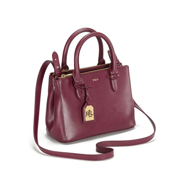 Lauren Ralph Women S Newbury Mini Double Zip Satchel Rosewood Image 4