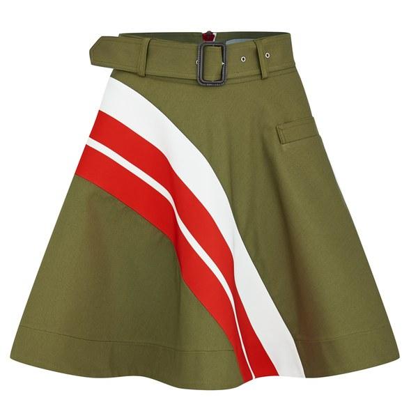 Preen by Thornton Bregazzi Women's Grove Cotton Twill Skirt - Khaki/Red Stripe