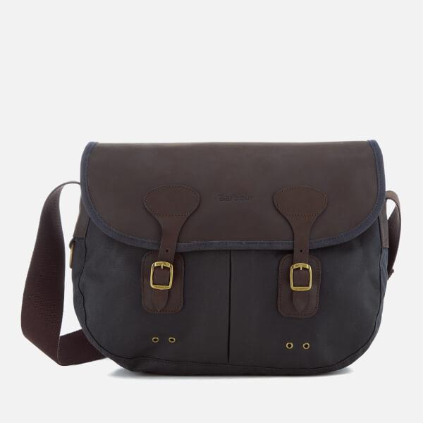 Barbour Men's Wax Leather Tarras Messenger Bag - Navy