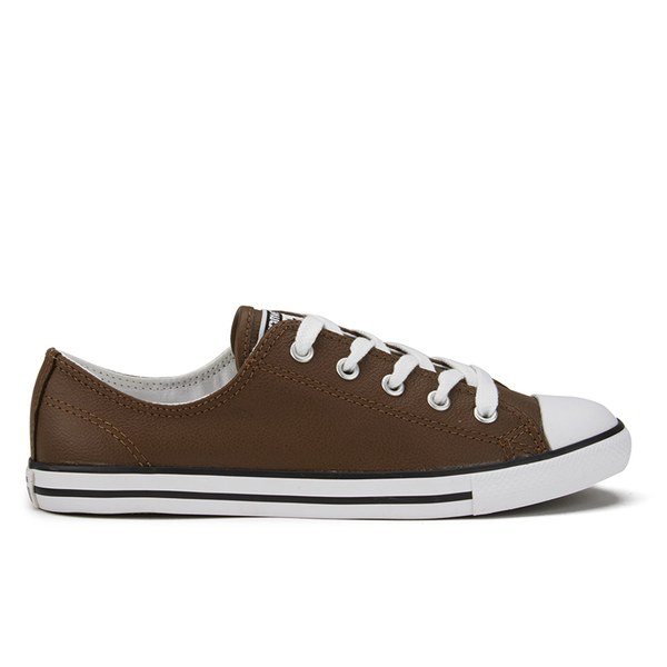Converse Women s Chuck Taylor All Star Dainty Seasonal Leather Ox Trainers  - Chocolate White  b76aea287