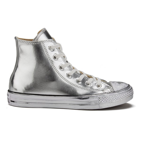Converse Women's Chuck Taylor All Star Chrome Leather Hi-Top Trainers - Silver/White/Black