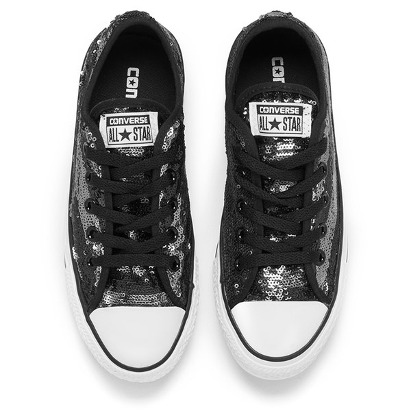 b4bb5aae08d34c Converse Women s Chuck Taylor All Star Sequin Flag Ox Trainers -  Black Silver White