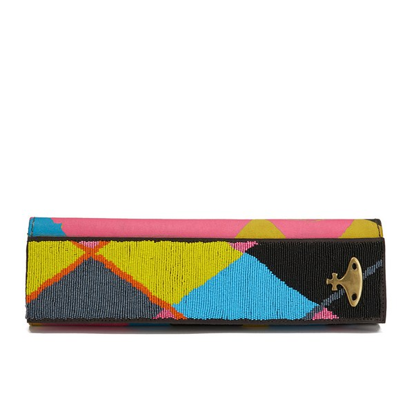 Vivienne Westwood Women S Argyle Beaded Clutch Bag Yellow Image 1