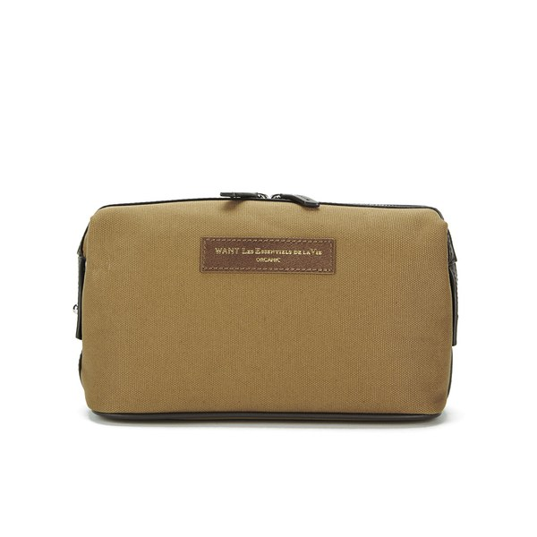 WANT LES ESSENTIELS Men's Kenyatta Dopp Kit Wash Bag - Beige/Moleskin