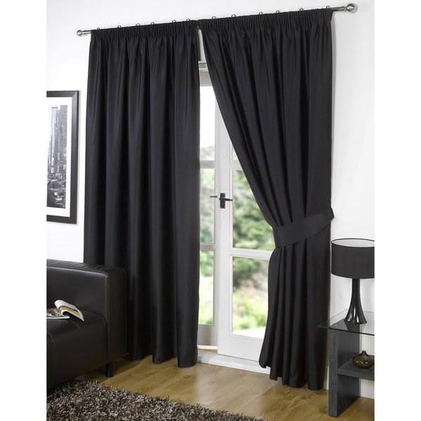 Dreamscene Blackout Pencil Pleat Curtains - Black