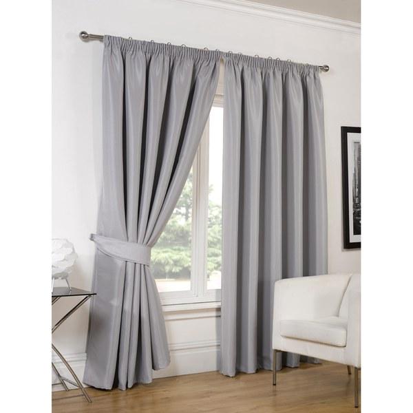 Dreamscene Faux Silk Blackout Curtains   Silver