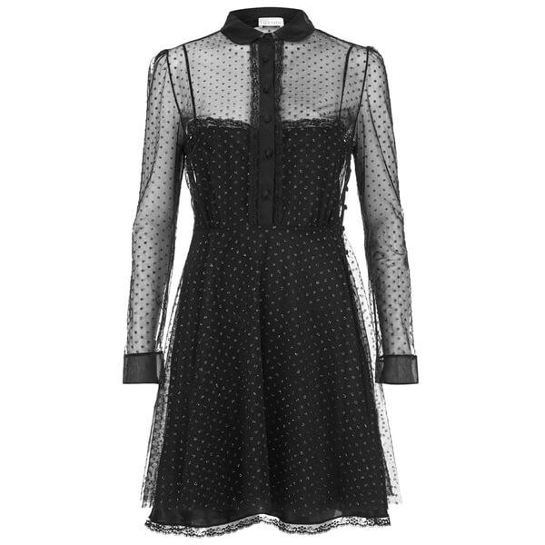 REDValentino Women's Lurex Dot Shirt Dress - Black