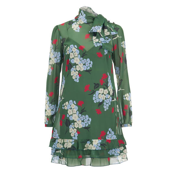 REDValentino Women's Floral Tie Neck Dress - Verde
