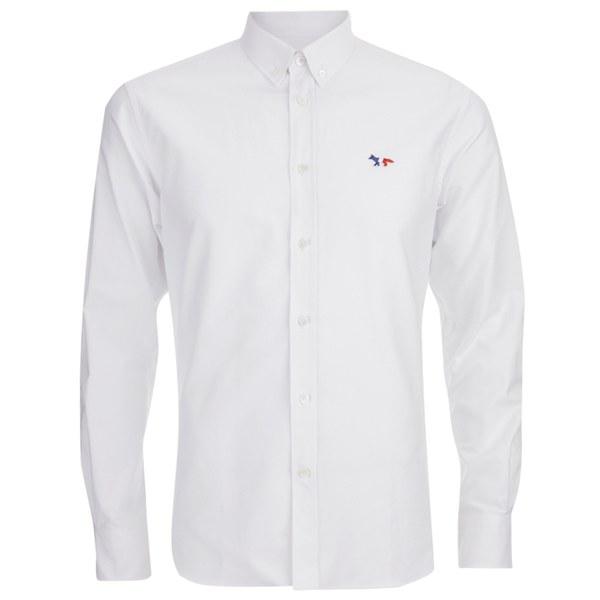 Maison Kitsuné Men's Classic Shirt with Tricolour Patch - White