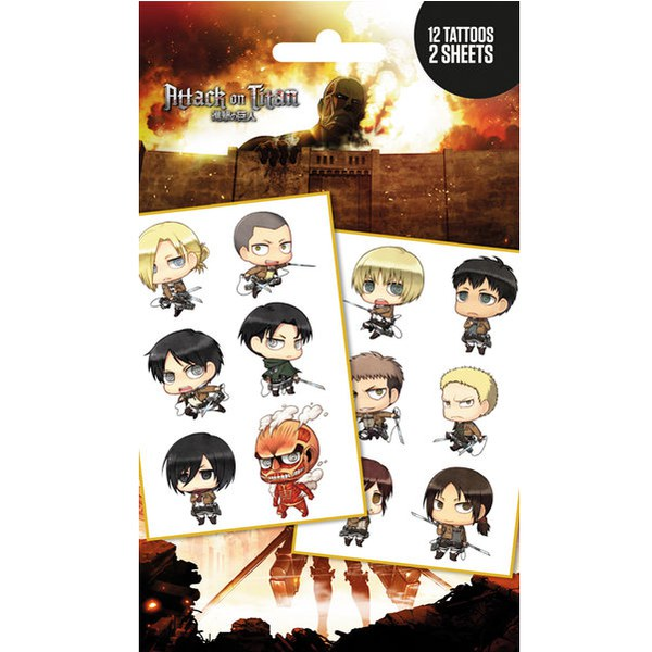Attack on Titan Chibi Characters - Tattoo Pack