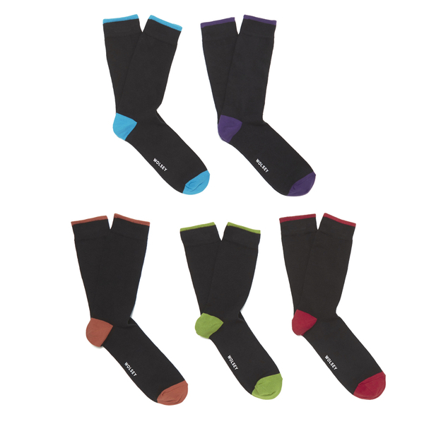 Wolsey Men's 5 Pack Heel and Toe Design Socks - Brights