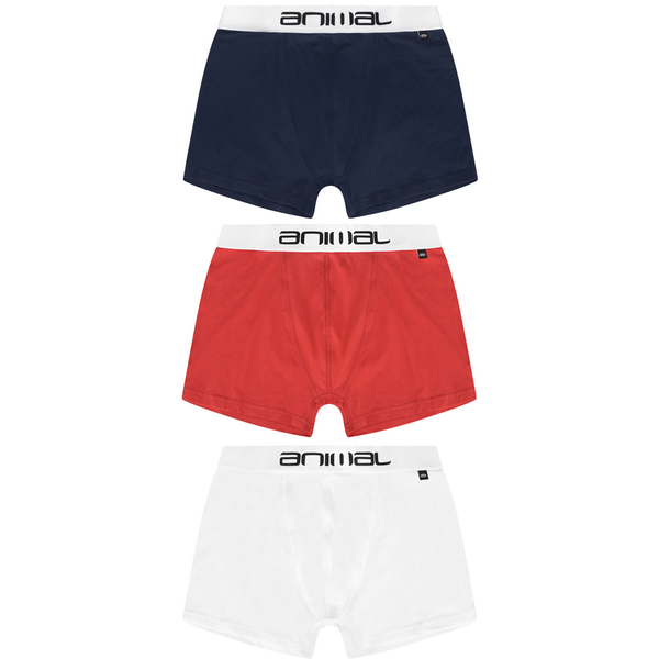 Animal Men's Brit 3-Pack Boxers - Red/Blue/White
