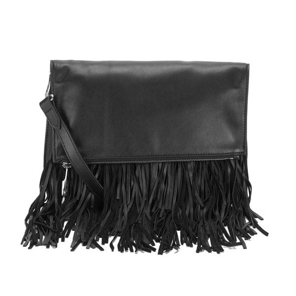 Elizabeth and James Women's Andrew Foldover Fringe Clutch Bag - Black