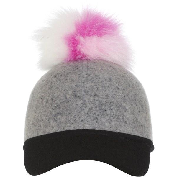 Charlotte Simone Women's Single Pom Pom Sass Cap - White/Baby Pink