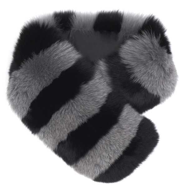 Charlotte Simone Women's Candy Stripe Cuff Faux Fur Scarf - Black/Dove Grey