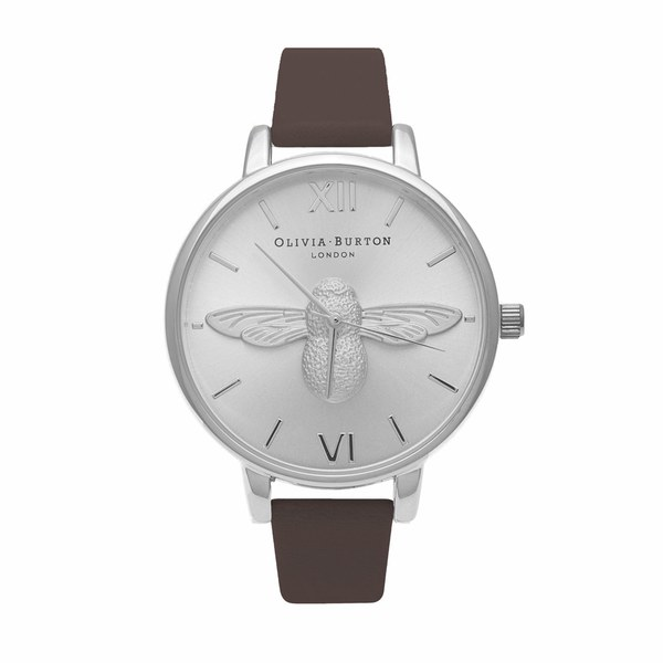Olivia Burton Women's Moulded Bee Watch - Brown/Silver
