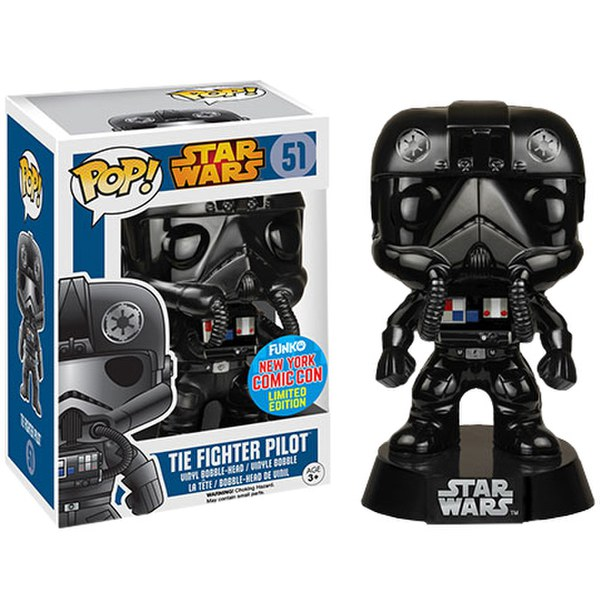 NYCC Star Wars Tie Figher Pilot Black Chrome Exclusive Pop! Vinyl Figure