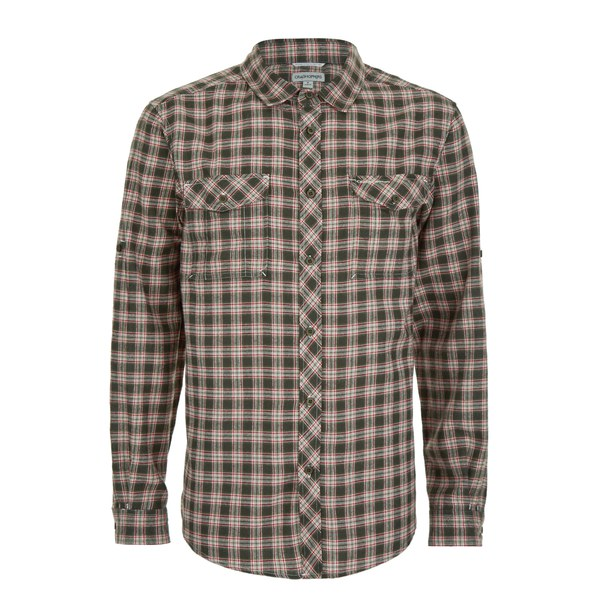 Craghoppers Men's Kiwi Checked Long Sleeve Shirt - Dark Khaki